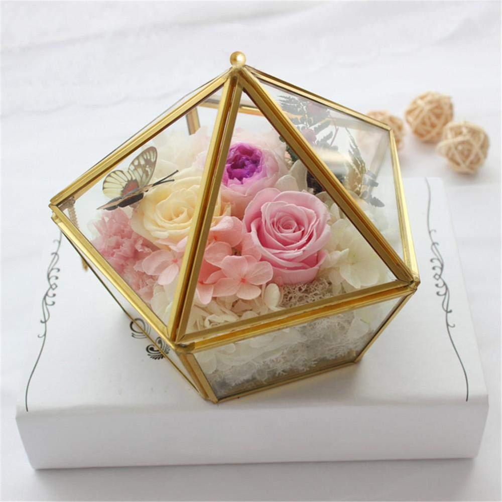 Polygon Transparent Glass Flower Room Container Wedding Ring Jewelry Storage Box