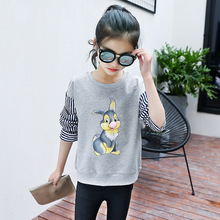 youngsters spring garments youngsters ladies informal sweatshirt 100% cotton lengthy full sleeves rabbit cartoon sample large ladies tops zero03
