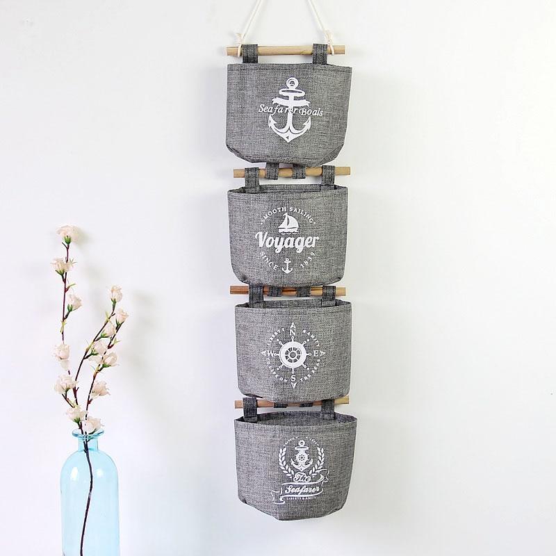 ᗛ4 unids/set pared gris retro caja de almacenamiento saco de ...