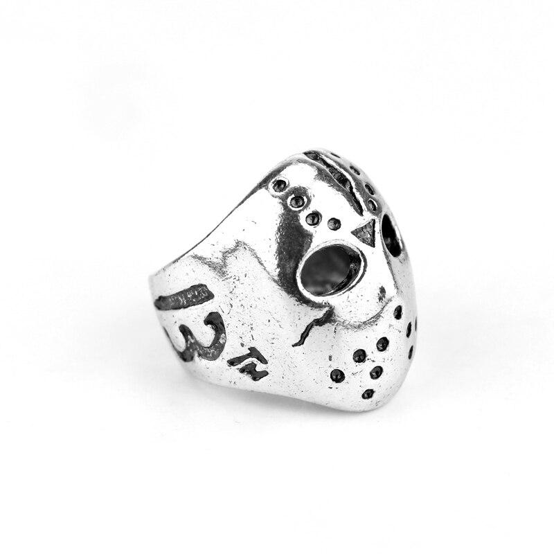 Мужское кольцо с черепом Джейсона, черное кольцо из нержавеющей стали 316L, в стиле ретро
