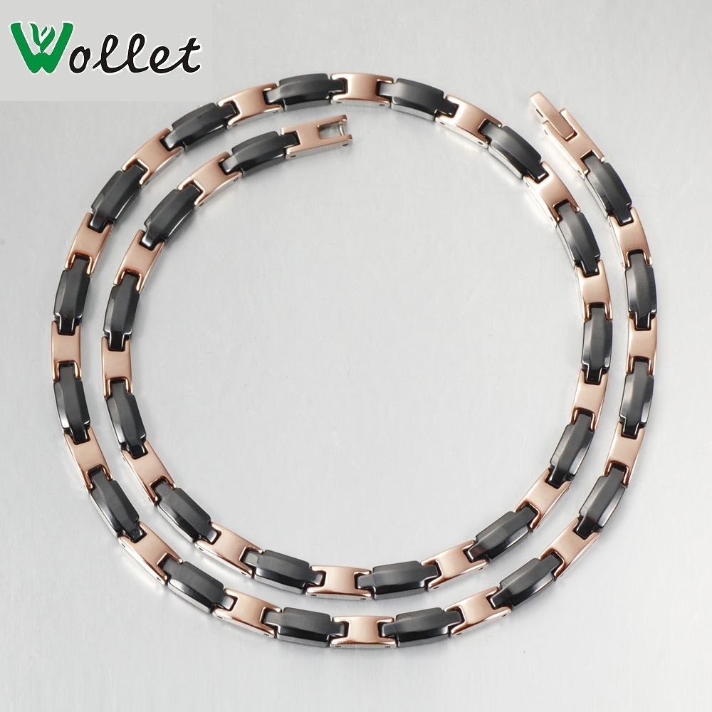 Wollet Jewelry Women Silver or Rose Gold Black Ceramic Necklace Pendant Germanium 316L Stainless Steel gj303 rhinestones 316l stainless steel couple s ring black silver size 9 7 2 pcs