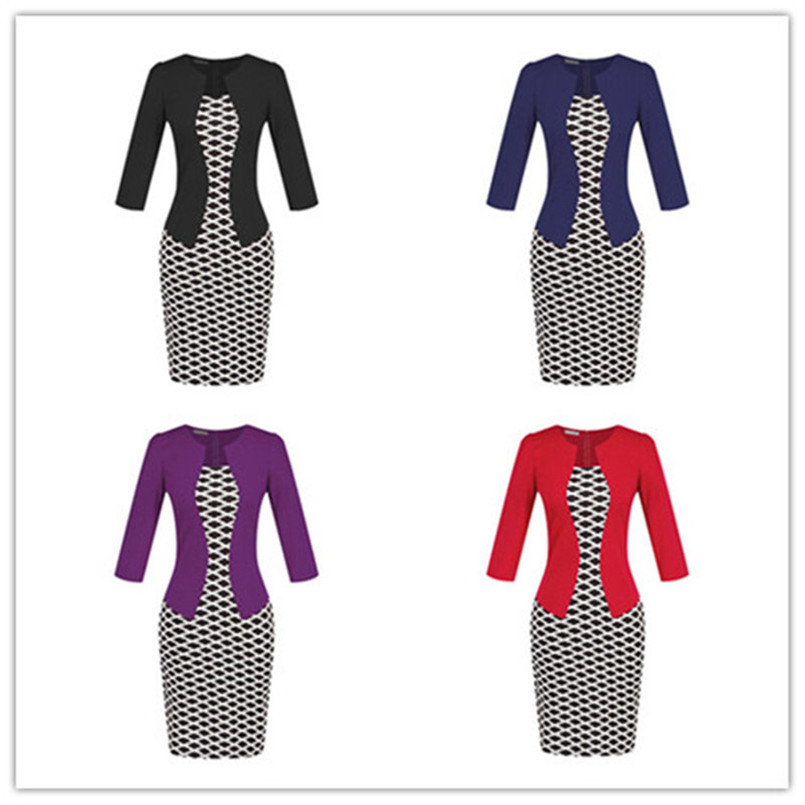 Plus Size XXXL Pencil Work Dresses Present With Belt One Piece Dress Patchwork Fake 2 Pcs Business Formal Office Bodycon Dress (14)