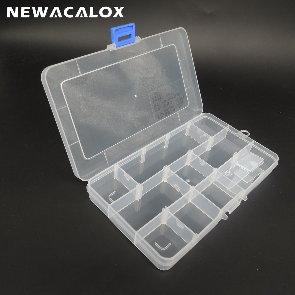 NEWACALOX DIY SMD SMT Screw Sewing PP Transparent Component Storage Box Toolbox Electronic Plastic Container Box For Tools Case