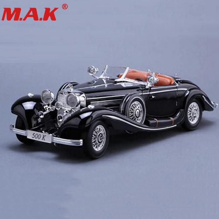Modèle de voiture 1/18 échelle en alliage moulé sous pression de voiture classique 1936 500 k métal véhicule de collection modèles jouets pour collection cadeaux pour enfants