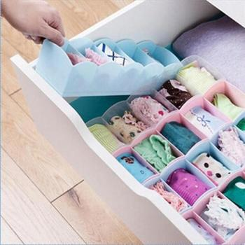 5 Compartment Socks Underwear Bra Tie Drawer Storage Box Clothes Organizer Case home storage box  Storage Clothes Sock Organizer 5 cells plastic organizer storage box tie bra socks drawer cosmetic divider w617