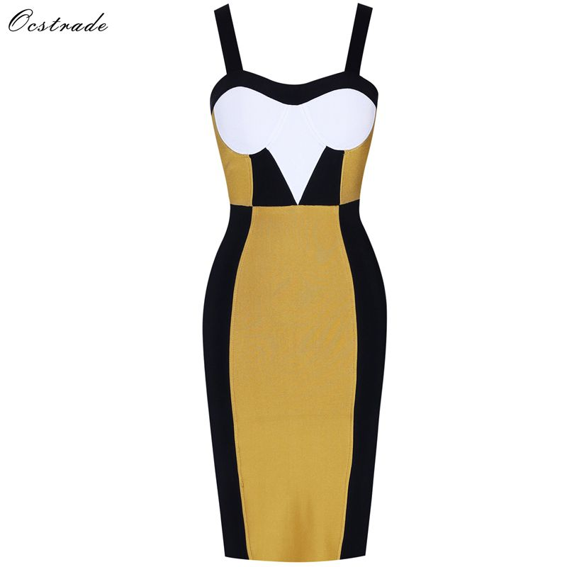 Ocstrade 2019 New Arrival Women Ginger Sexy Strapy Sleeveless Rayon High Quality Bandage Dress Bodycon-in Dresses from Women's Clothing    1
