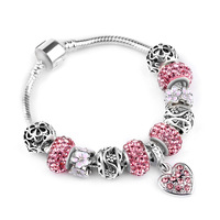 DZ (With Box) SPC4 Crystal Glass Mickey Beads Lovely Charm Bracelets& Bangles with Dress Skirt Pendant Bracelet Jewelry Gift