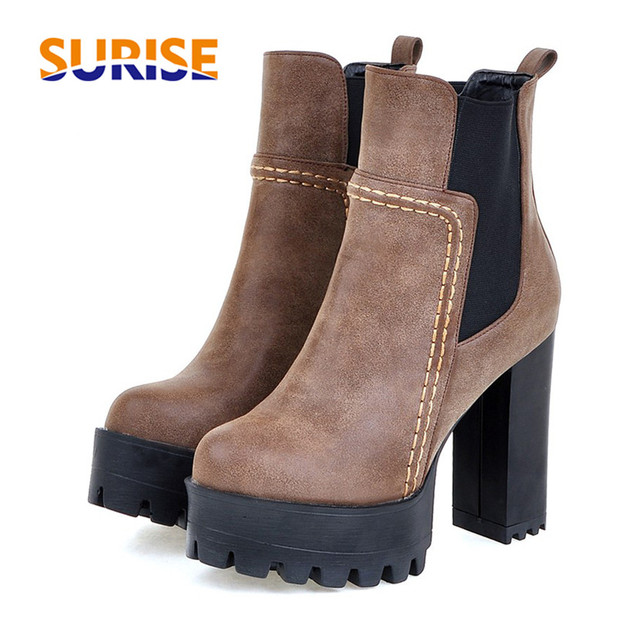 a0e02970b00 12cm Winter Women Platform Ankle Boots Round Toe High Block Heel PU Leather  Plush Fashion Ladies Party Black Short Chelsea Boots