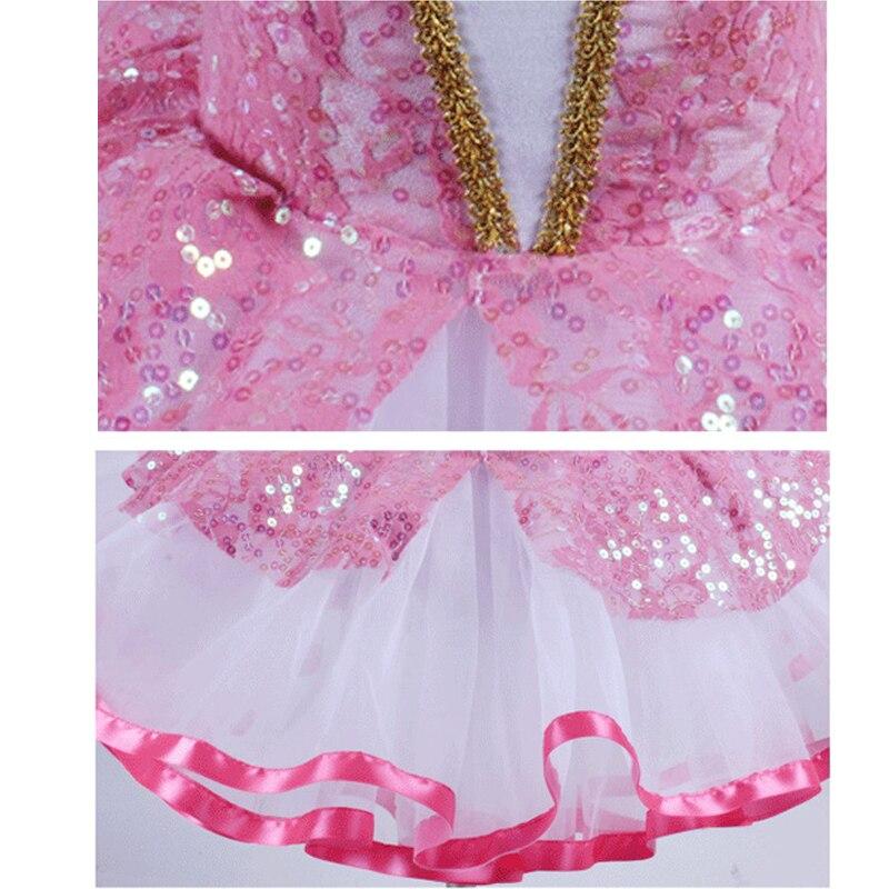 Princess Sequin Dance Dress For Girls New Design Puff Sleeves Ballerina Clothes For Women Ballet Dancers C421