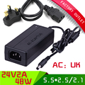 1pcs Universal ac 100-250V dc 24V 2A power supply UK PLUG switching  power adapter with 5.5*2.5mm jack