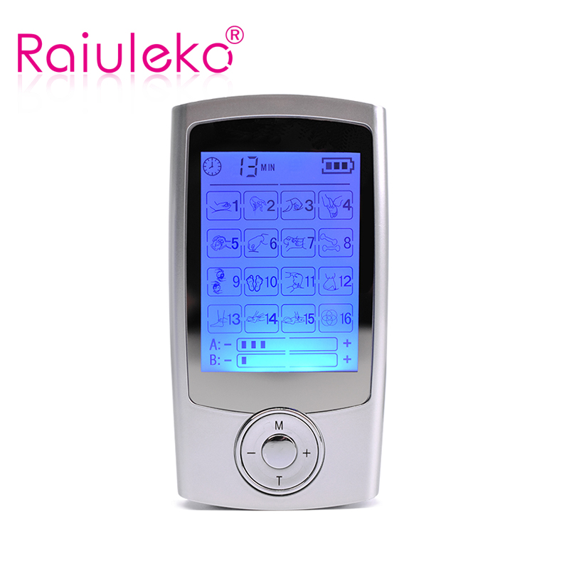 16 Modes Dual Output Health Care Body Massage Electric EMS Muscle Stimulator TENS Unit Electronic Pulse Physiotherapy Massager hot electric slimming full body relax pulse muscle stimulator tens therapy machine massager vibrateur with 20pcs tens pads