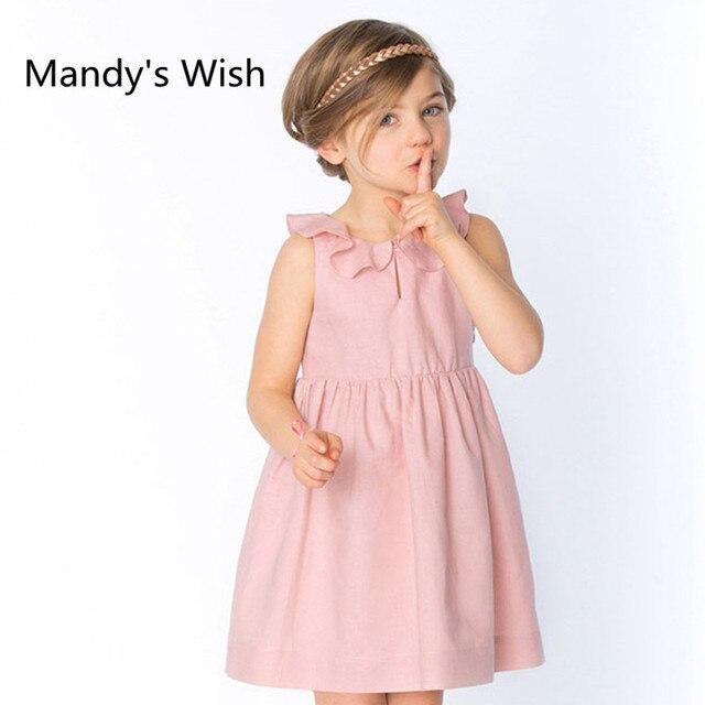 35bcfa1f0 Mandy's souhait nouvelle qualité été filles robe sans manches hommage soie  coton solide à volants col princesse enfants vêtements
