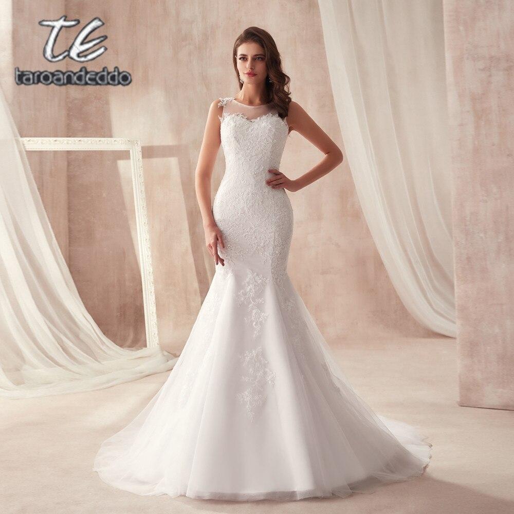 Sexy Sans Manches Sirène robe de mariage avec Cristaux Illusion Retour Sexy robe de mariée avec le Bouton robes de fiesta
