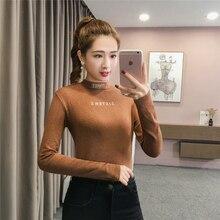 Long sleeve women tops 2018 fashion New autumn winter high collar elegant T shirts slim black chiffon white Tees 722A