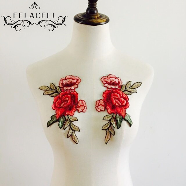 2pcs set rose flower floral collar sew on patch cute applique badge embroidered fabric sticker