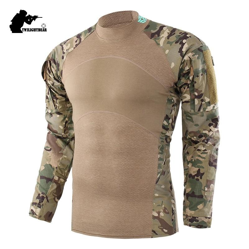 Military Mens Camouflage Tactical T Shirt Long Sleeve Brand Cotton Generation III Combat Frog Shirt Men Training Shirts BF656