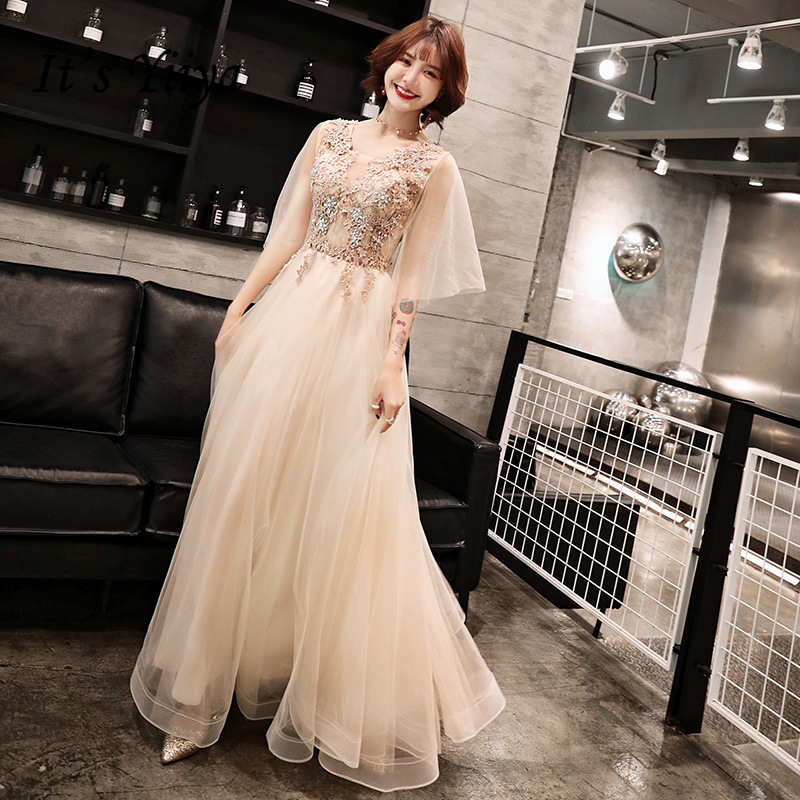2019   Prom     Dress   Boat Neck Champagne Tulle Women Party Night Long A-line Floor Length Plus Size Customizied Vestidos De Gala E426