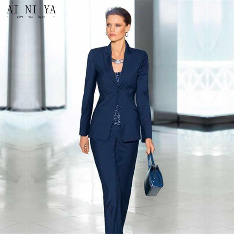 ジャケット+パンツ女性ビジネススーツ紺二つボタン女性オフィス制服レディースフォーマルズボンスーツ2ピースカスタム