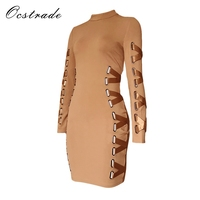 Ocstrade New Arrival 2017 Khaki Women Laced Up Bodycon Long Sleeve Dress Rayon High Quality Bandage