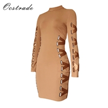 Ocstrade New Arrival 2017 Khaki Women Laced-up Bodycon Long Sleeve Dress Rayon High Quality Bandage Dress Black Wholesale HL