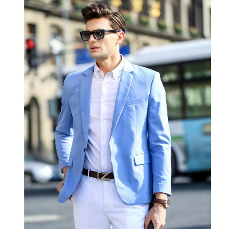 The spring and autumn season the men's suit jacket light blue ...