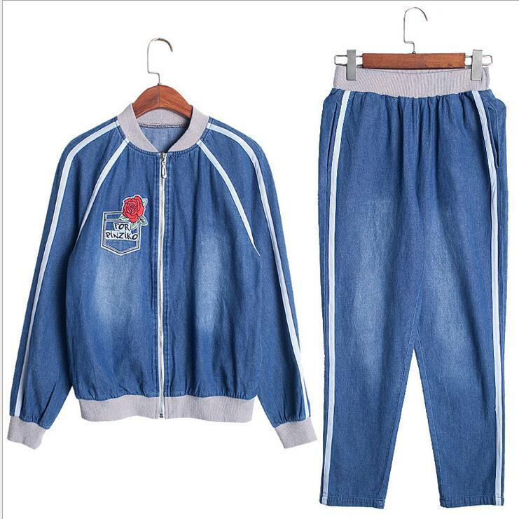 Deportiva Pantalones Nueva Largos Denim 2018 Chaqueta Ropa 2 Primavera Casual Moda Azul Traje Más Tamaño Mujeres De Unidades Femenina Estudiantes 6qxwTFgx
