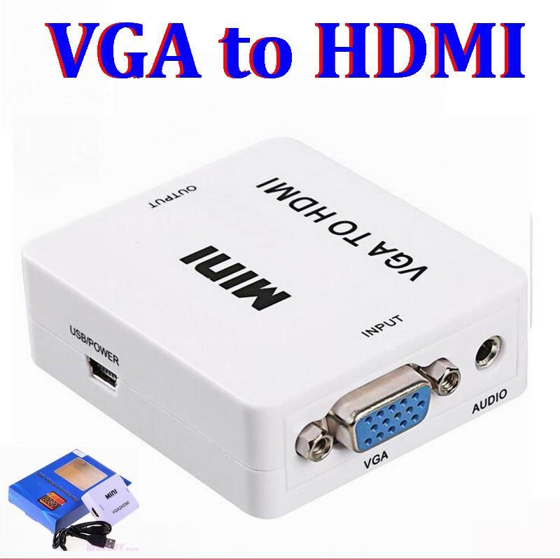 100set Mini HD 1080P Audio VGA To HDMI to vga HD HDTV Video Converter Box Adapter