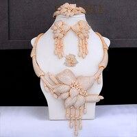 GODKI бренд золото цвет цепочки и ожерелья серьги браслет кольцо комплект ювелирных изделий фианит Свадебные обручение Best подарок для женщи