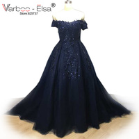 VARBOO_ELSA 2018 Hot Sale Saudi Arabic Evening Gowns Appliques Beaded Black Evening Dresses Long Sweetheart Women Formal Dresses