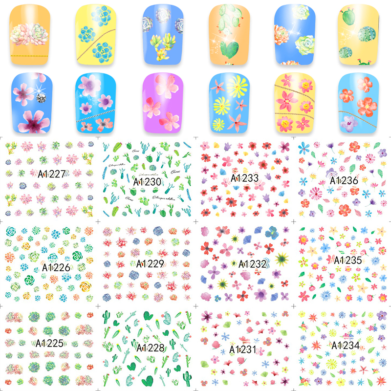FWC Sheet Chic Flowers/Cactus Design Watermark Beauty Nail Art Tips Sticker Full Wraps Water Transfer Decals A1225-1248 1pcs water nail art transfer nail sticker water decals beauty flowers nail design manicure stickers for nails decorations tools