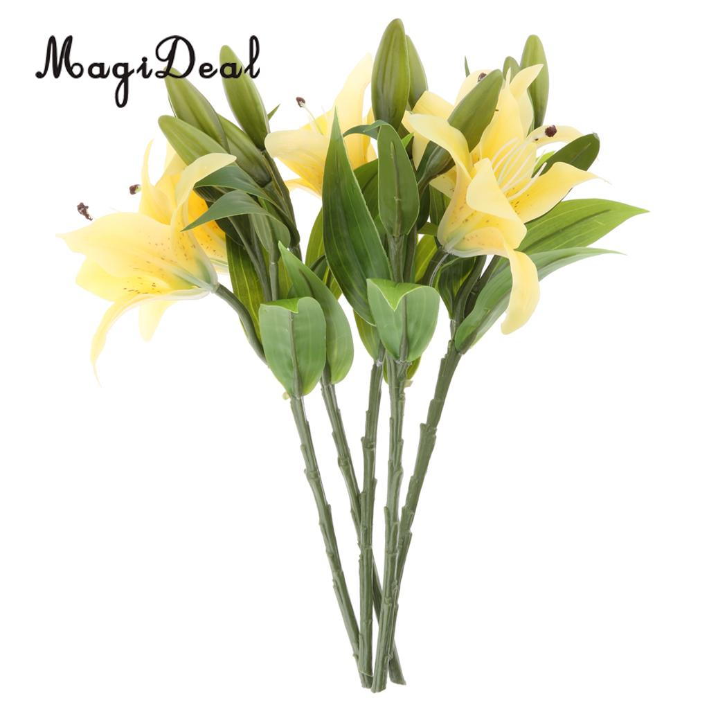 Magideal Lifelike 5pcssheaf Artificial Lily Flower With Steel Wire