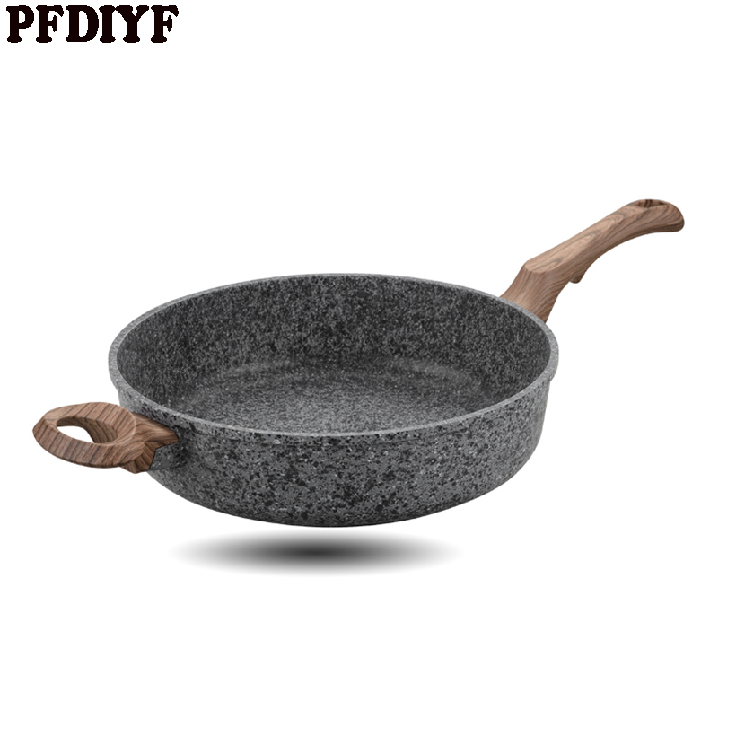 PFDIYF 28 CM עיבוי רפואי אבן טפלון רב תכליתי פנקייק סטייק מחבת אין אדים שימוש עבור גז כיריים אינדוקציה