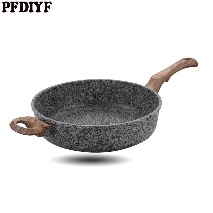 PFDIYF 28 CM Thickening Medical Stone Non-stick Frying Pan Multi-purpose Pancake Steak Pan No Fumes Use For Gas Induction Cooker