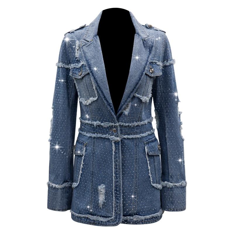 HIGH STREET New Stylish 2019 Designer Denim Jacket Women's Lacing Belt Dovetail Denim Coat