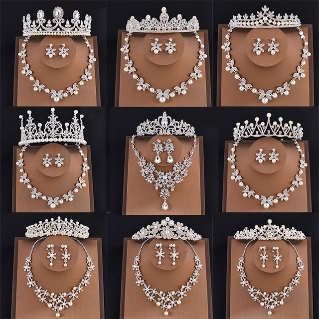 Mansati Crystal Bridal Jewelry Sets Tiaras and Crowns Necklace and