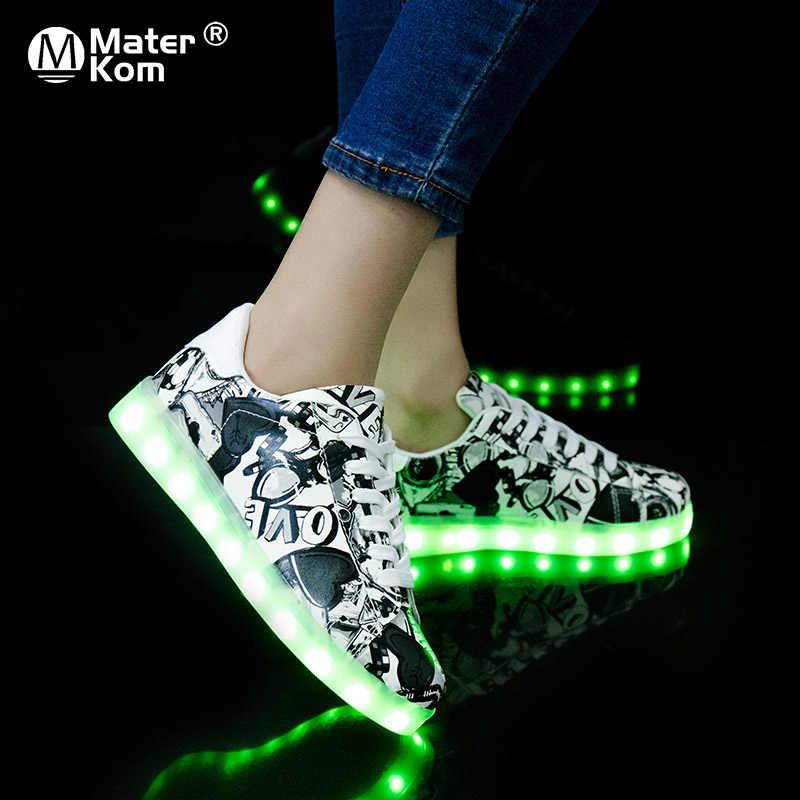 ขนาด 27-37 USB Charging Glowing รองเท้าผ้าใบเด็กรองเท้าผ้าใบส่องสว่างสำหรับ Boys & Girls LED รองเท้ารองเท้าผ้าใบ luminous Sole