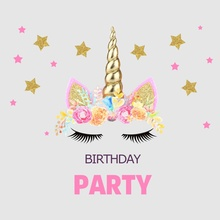 Laeacco Pink Unicorn Birthday Party Star Baby Poster Portrait Photographic Backgrounds Photo Backdrops Photocall Studio