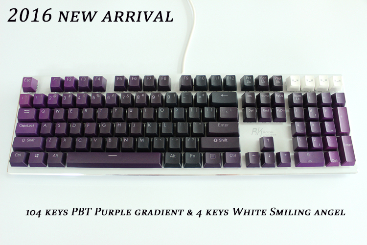 MP 104 Keys Thick PBT Purple Gradient Double Shot Backlight Keycap OEM Profile For Wired USB