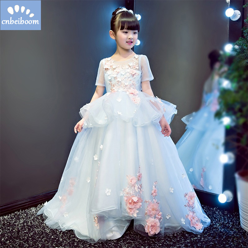2018 New Flower Girls Party Dress Embroidered Formal Bridesmaid Wedding Girl Christmas Princess Ball Gown Birthday Dress new flower girls party dress embroidered formal bridesmaid wedding girl christmas princess ball gown kids vestido