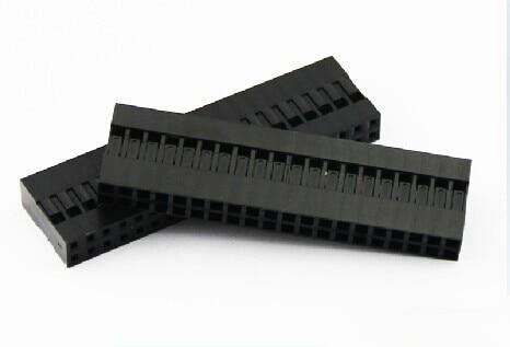 10 pçs/lote 40 pinos 2x20 pinos 2.54mm dupla fileira plástico dupont cabeça jumper cabo de fio habitação fêmea pino conector
