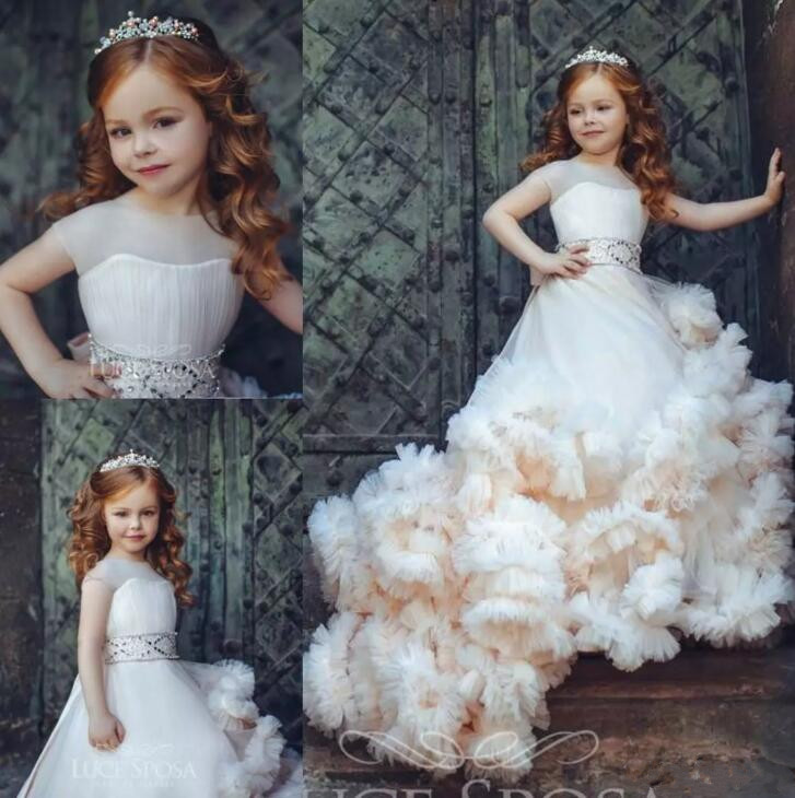 New Arrival Ruffled Flower Girl Dresses Special Occasion For Weddings Pleated Kids Pageant Gowns Tulle Communion GownNew Arrival Ruffled Flower Girl Dresses Special Occasion For Weddings Pleated Kids Pageant Gowns Tulle Communion Gown