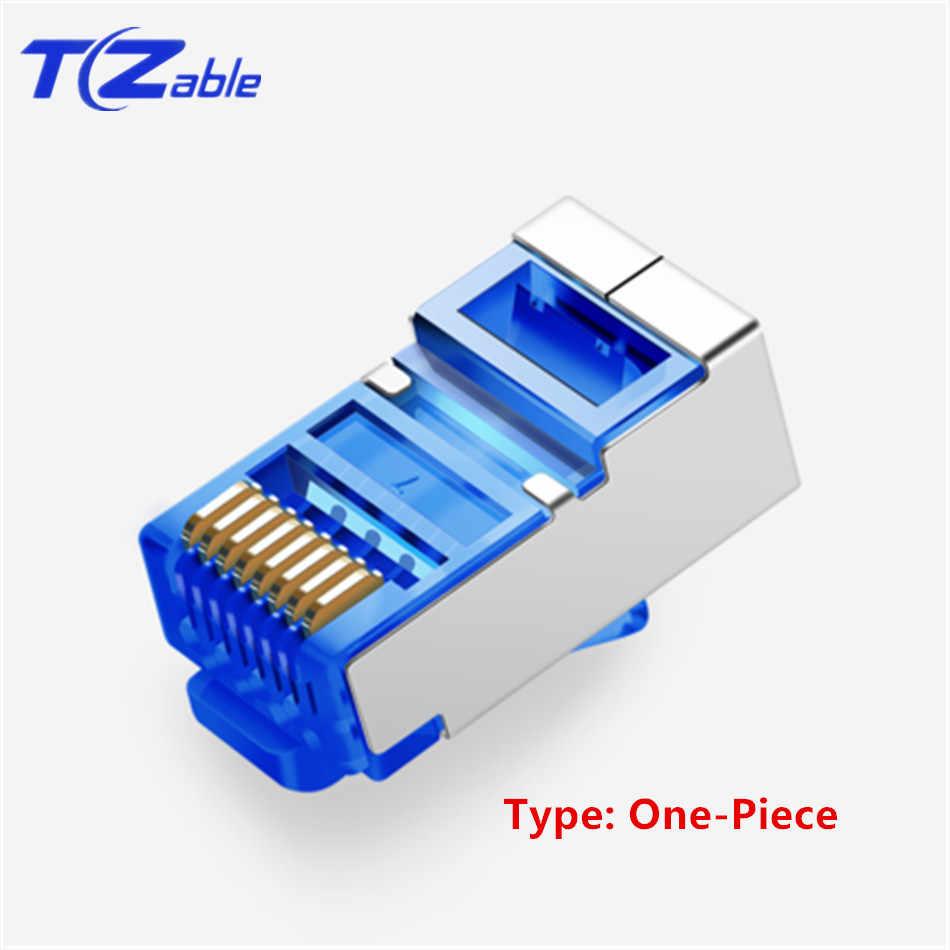 """Cat6 RJ45 Konektörü 8P8C 6U """"Altın Kaplama Modüler Ethernet Kablosu Kafa Sıkma Ağ RJ 45 Fiş UTP FTP SFTP 1.0mm Tel"""
