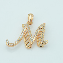 1pcs Men Women Unisex Champagne Gold Color Cubic Zircon Capital Letter Pendants C D J M N P R Y(China)