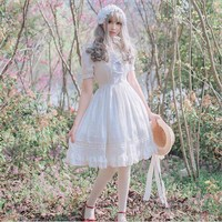 Girls Summer Gothic Lolita Dress White Black Chiffon Short Sleeve Lace Princess Dress Birthday Gift For Women/Girl Plus Size XL