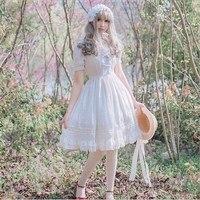 Girls Summer Lolita Dress Gothic White Black Chiffon Short Sleeve Lace Princess Dress Birthday Gift For Women/Girl Plus Size XL