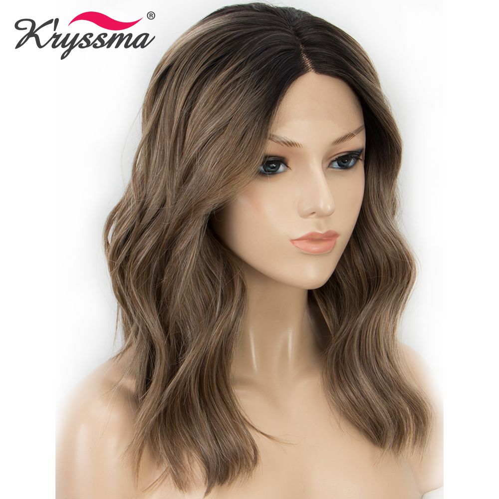 Dark Roots Short Bob Wavy Brown Wig 150% Density Synthetic Lace Front Wig Ombre Wigs For Women Hair Heat Resistant Fiber