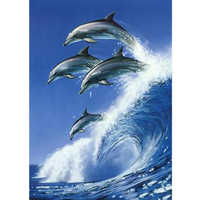 Full Round Drill 5D Diamond Painting Dolphin Jumps Embroidery Cross Stitch Home Decoration Gift