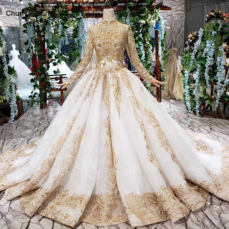 HTL392 luxury wedding dresses for muslim woman high neck long sleeve lace up floor length princess bridal dresses golden mariage