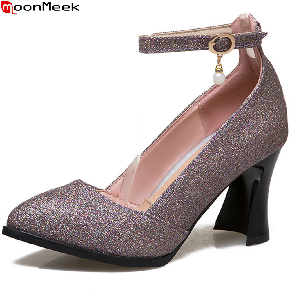 MoonMeek 2018 fashion spring autumn women pumps pointed toe ladies shoes shallow buckle high heels shoes plus size 33-48 spring autumn shoes woman pointed toe metal buckle shallow 11 plus size thick heels shoes sexy career super high heel shoes