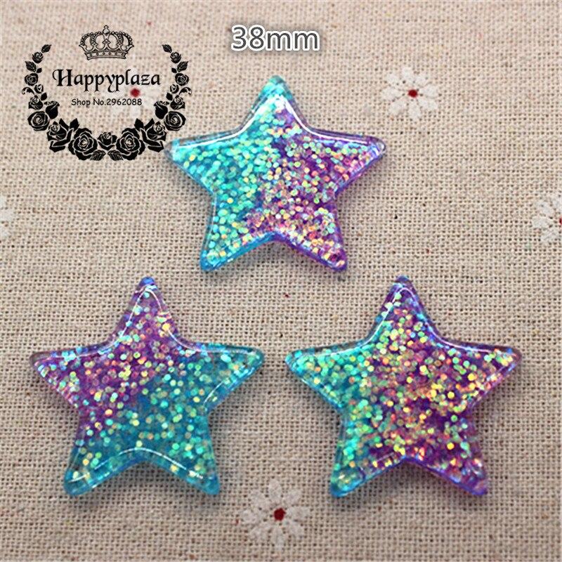 10pcs Kawaii Resin Glitter Blue And Purple Star Flatback Cabochon Art Supply Decoration Charm Craft DIY Accessories,38mm